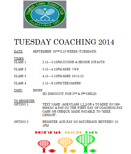 CHECK OUT OUR 2014 TUESDAY COACHING