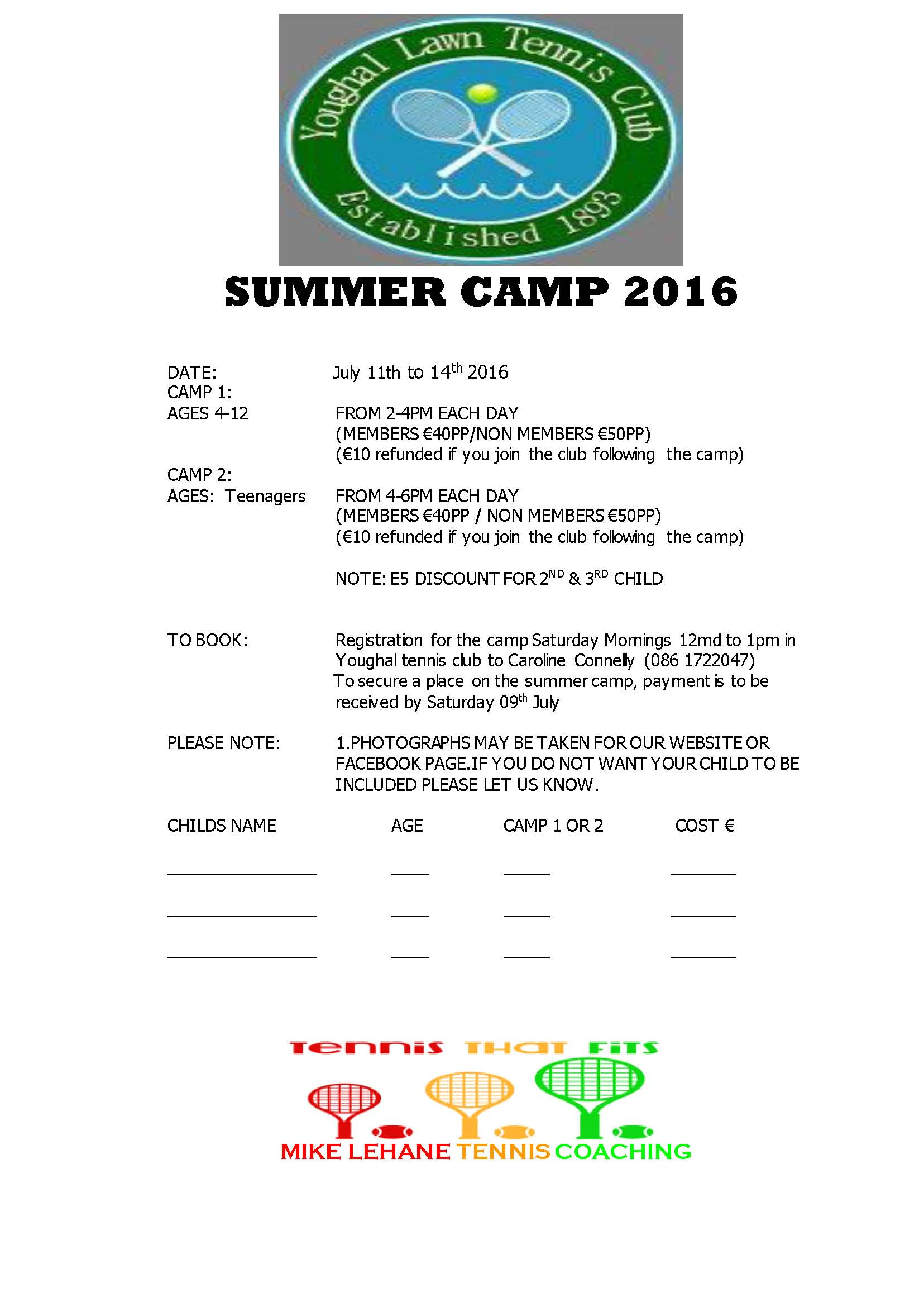 YOUGHAL TC SUMMER CAMP 2016